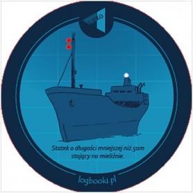 Podkładka pod kubek - statek o długości mniejszej niż 50m stojący na mieliźnie.