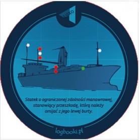 Podkładka pod kubek - statek o ograniczonej zdolności manewrowej, stanowiący przeszkodę, którą należy ominąć z jego lewej burty
