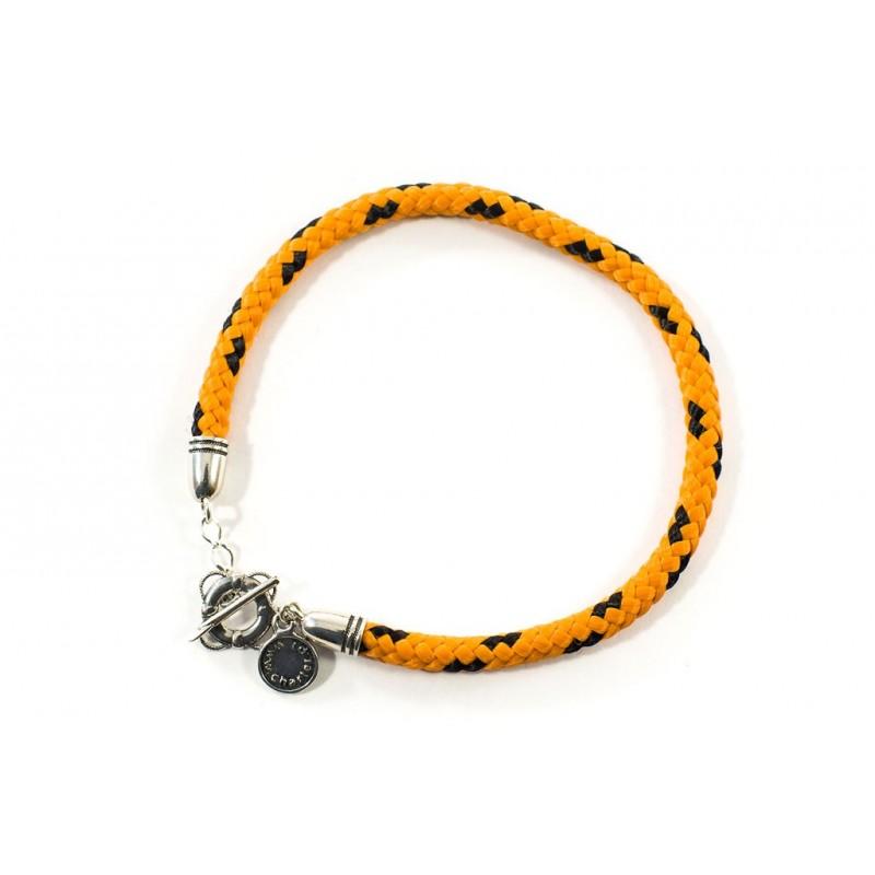 Bransoletka sznurek pomarańczowo-czarny